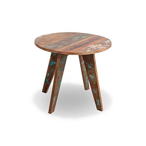 MÖBEL IDEAL Beistelltisch Malm Tisch aus recyceltem Massivholz Couchtisch 60 x 70 cm Bunt Used Look