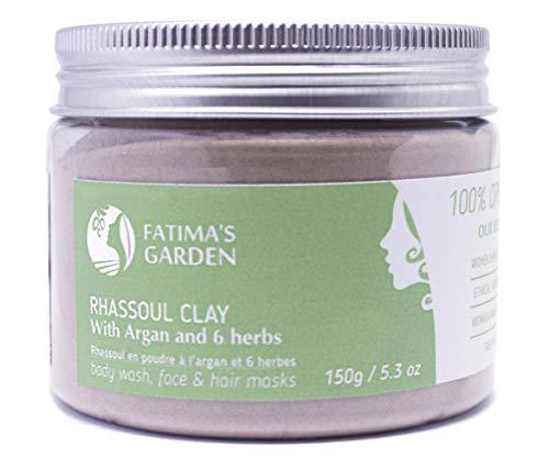 Arcilla Rhassoul de Fatima's Garden, arcilla marroquí 100% natural para rostro, cabello, y hammam, enriquecida con aceite de argán y 6 hierbas, propiedades suavizantes y purificantes-150gr