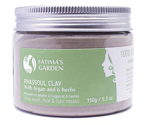 Rhassoul Clay by Fatima's Garden, 100% Natural Moroccan Ghassoul Clay for Face, Hair & Hammam; enriched with Argan and 6 herbs, cleansing & softening properties, Purify skin/hair- 5.3 oz / 150gr