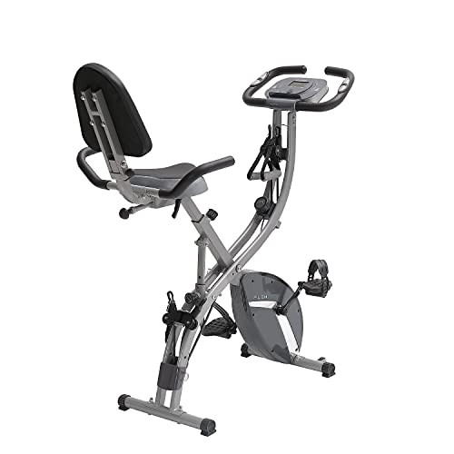 PLENY Folding Fitness Exercise Bike Workout, Slim Cycle Stationary Bike for Home, 3-in-1 Foldable Exercise Bikes for Adults (Gray)