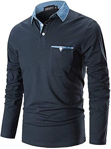 GNRSPTY Polo Manica Lunga Uomo Maglietta Denim Collare Maglia Elegante Cotone T-Shirt Golf Tennis Lavoro Camicia,Marina,L