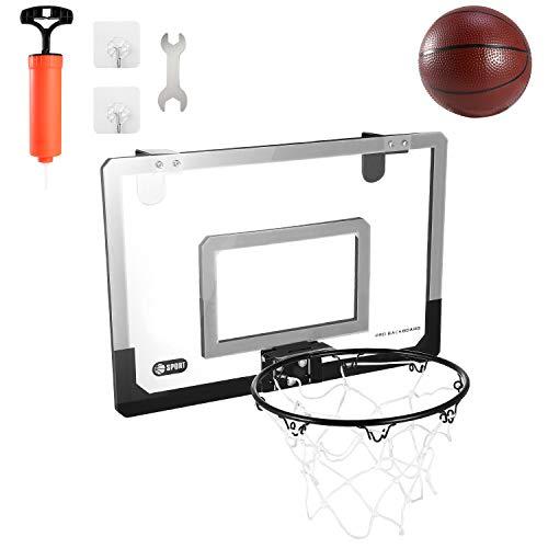 Mini-Basketballkorb über der Tür, 45,7 x 30,5 cm, Basketball-Rückwand, für drinnen und draußen, Sport, mit Ball und Handpumpe