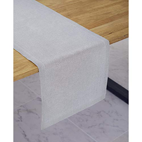 Solino Home Medium Weight Linen Table Runner - 100% Pure Linen - 14 x 72 Inch, Light Grey