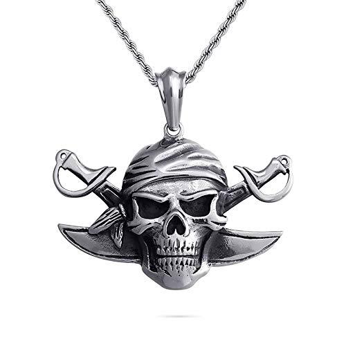 HHW Vintage Piratas Europeos Y Americanos Jack Capitán Colgante Dominante Collar De Calavera De Doble Cuchillo