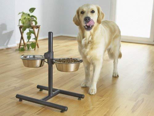 Bontoy Doppelnapfständer für Hunde I 4000 ml Fassungsvermögen I Höhenverstellbar I Edelstahlnapf