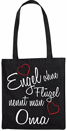Mister Merchandise Shopping Tasche Beutel Engel ohne Flügel nennt Man Oma Oma Großmutter Omi Großmama Muttertag Großmutti Granny Jutebeutel Natur Öko Schwarz