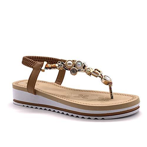 Angkorly - Zapatillas Moda Sandalias Sandalias Casual/Informal Planos Playa Mujer Charm Joyas Plataforma 4 CM