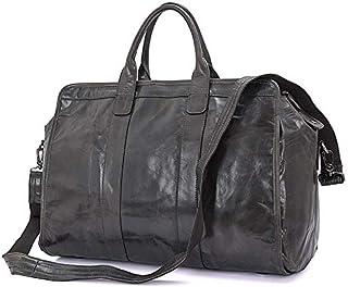 Men's Shoulder Bags Leather Handbags Vintage Travel Bags Leather Bags (Color : Gray, Size : L)