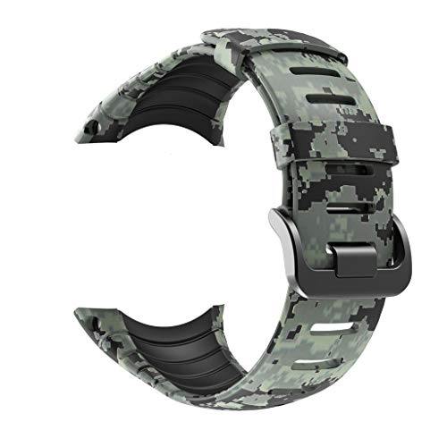 Transer Cinturino in Silicone Mimetico Cinturino Sportivo in Silicone per Cinturino di Ricambio per SUUNTO Core Smart Watch (Black)