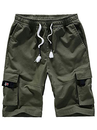 Tiop Pantalones cortos de verano para hombre, de algodón, con cordón, estilo vintage, de algodón Verde militar. XXL