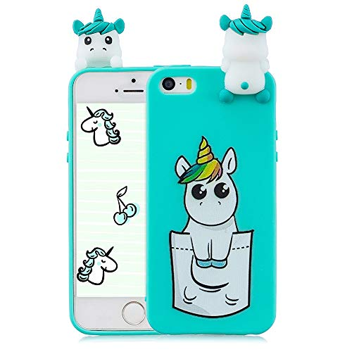 Compatible con Funda iPhone 5, iPhone 5s, iPhone SE, Carcasa 3D Animal Muñeca Color Caramelo Case Cover Ultrafino Mate Suave Flexible Silicona TPU Gel Protector Antigolpes - Unicornio de Bolsillo