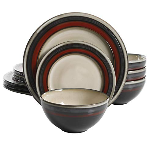 Gibson Elite 116869.12R Everston 12 Piece Reactive Glaze Dinnerware Set, Red and Cream