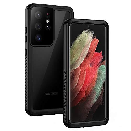 Lanhiem Funda Impermeable Samsung S21 Ultra 5G Compatible con Sensor de Huellas Carcasa Resistente Al Agua IP68 Certificado [Protección de 360 Grados], Carcasa para Samsung Galaxy S21 Ultra,Negro