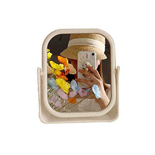 JJZI-L Espejo De Maquillaje De Plástico, Simplicidad, Baño, Espejo De Belleza De Mano, Rectángulo/Elipse, Espejo De Tocador De Entrada De 360 °(Color:Segundo,Size:15.7 * 18.5CM)