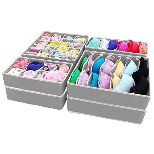 SITAKE Opvouwbare kast ondergoed organizer, 8 set - opbergdozen onder bed organizer voor ondergoed, beha, banden, riemen, sokken, tanktops - lade verdeler - kast organisatoren (8 stuks, grijs)