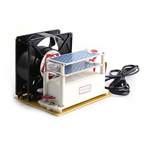 110V 10g / h Keramik Ozon Generator Luftreiniger Sterilisator Doppel Blätter aus Keramik Ozon Platten mit Kühlventilator(EU AC220V)