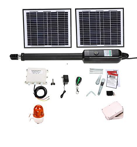 TOPENS A5S Solar-Automatischer elektrischer Schwingtoröffner für ein Schwenktore bis 250 kg oder 5 m Torantrieb, Solarsteuerung und Blinker im Lieferumfang enthalten