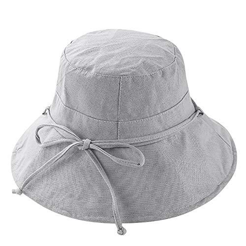 LONTG Damen Sonnehut Sommer Baumwolle Fischerhut mit Bowknoten Eleganter Strandhut breite Krempe Bucket Hat Sonnenschutz UPF 50+
