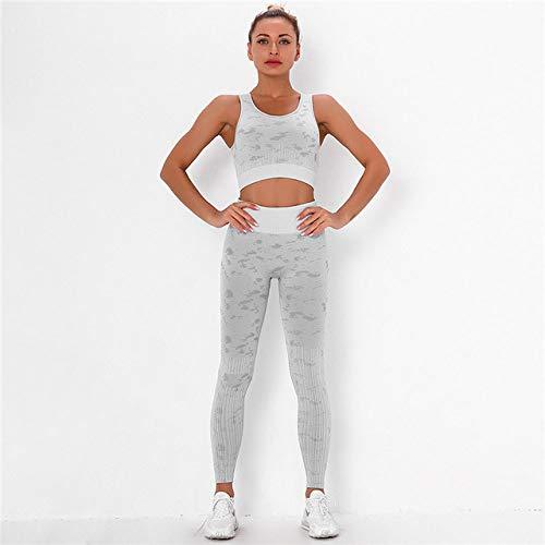 GUOYANGPAI Ropa de Gimnasia para Mujer Leggings de Fitness con Control de Abdomen, Conjunto Deportivo sin Costuras, 2 Piezas de Trajes Deportivos, Trajes de chándal,Gris,M