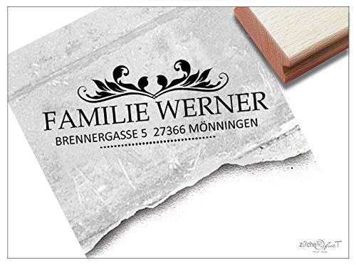 ZAcheR-fineT Stempel, persoonlijke adresstempel, vintage-look I, gepersonaliseerd, familiestempel, bedrijfsstempel, geschenk, personaliseerbaar