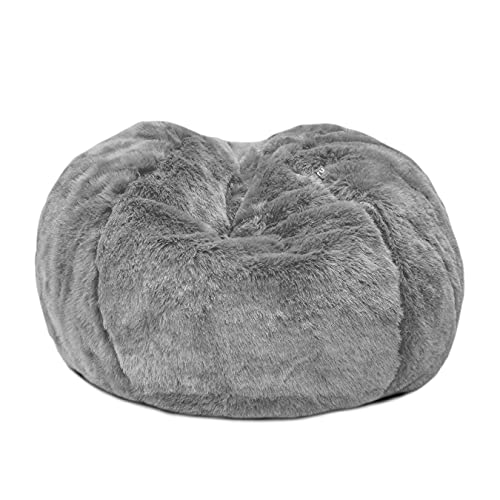 rucomfy Beanbags Mini-Slouch Faux Fur Bean Bag. Luxury Soft & Furry Pre Filled Living or Bed Room Chair for Kids. D60cm x H80cm (Grey)