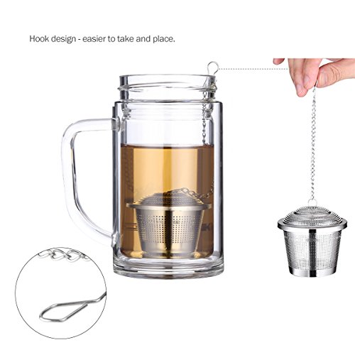 OUNONA Tee-ei Sieb Tee Rostfreier Stahl (2 Stück) mit Tee-Scoop und Auffangwannen - 3