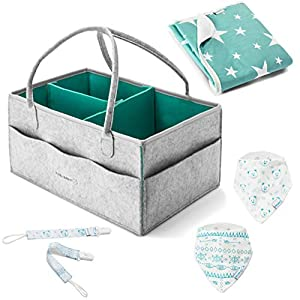 Diaper Caddy Organizer – Gray Large Portable Nursery Storage Bag Car Nursery Basket for Changing Table Bag Bin Baby Toys, 2 bandana bibs, 2 pacifier clips, 1 large changing pad baby shower gift