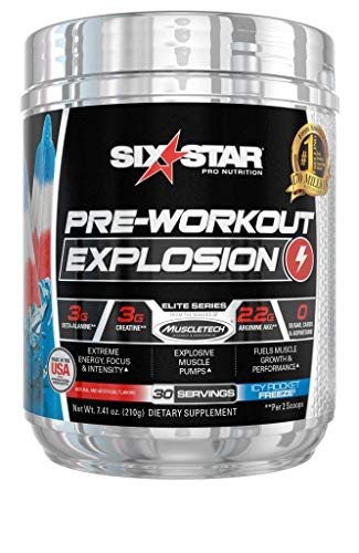 Six Star Explosion Pre Workout, Powerful Pre Workout Powder with Extreme Energy, Focus and Intensity, Icy Rocket Freeze, 30 Servings
