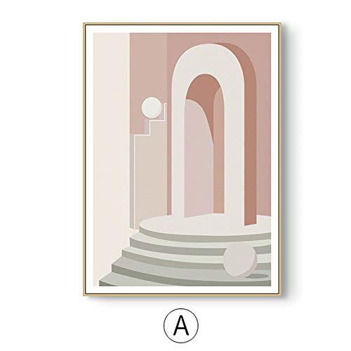 LiMengQi Pintura de Lienzo de construcción Retro geométrica Abstracta Imagen de Arte de Pared para Sala de Estar Cartel nórdico literario Decoración Imagen (sin Marco)
