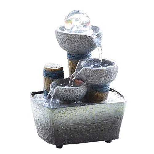 Fuente de Interior Fuentes de interior Fuente de escritorio interior y exterior Feng Shui molino de piedra cascada, 3-Paso fuente de agua con la bola de cristal en el top de la habitación decoración d