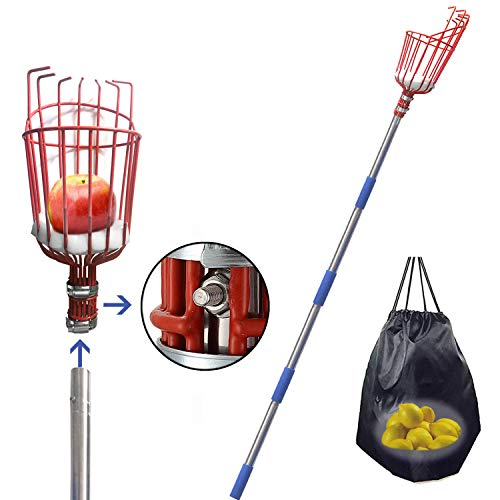 FLY HAWK Fruit Picker Tool, 5.5 Foot-Long Fruit Picker Equipped with Optional Splicing of Lightweight Stainless Steel to Pick Apples, Oranges and Fruit Trees (5.5 Foot)