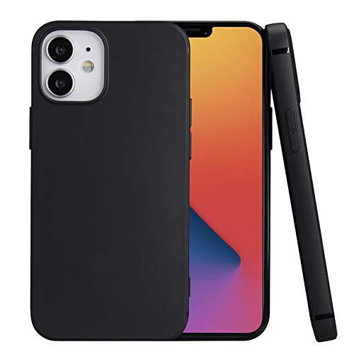 iphone 12 mini 用ケース 5.4インチ対応 耐衝撃 衝撃吸収 指紋防止 落下防止 滑り防止 ケース TPU 軽量 し レンズ保護 ストラップホール付き iPhone 12 mini 用ケース カバー(ブラック)