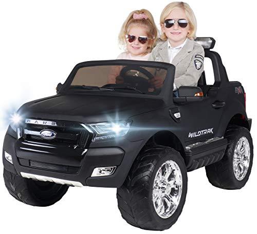 Actionbikes Motors Kinder Elektroauto Ford Ranger Wildtrak - Allrad 4x4 - Touchscreen - 2 Sitzer - 4 x 45 Watt Motor - Fernbedienung - Elektro Auto für Kinder ab 3 Jahre (Allrad Schwarz Matt lackiert)