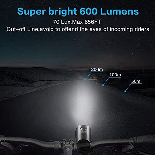 Nestling LED Fahrradlicht Set,StVZO Zugelassen 600 Lumen LED Fahrradbeleuchtung Fahrradlampe Set USB Wiederaufladbar IPX5 Wasserdicht Frontlicht & Rücklicht für Nachtfahrer Radfahren,Outdoor Sport - 3