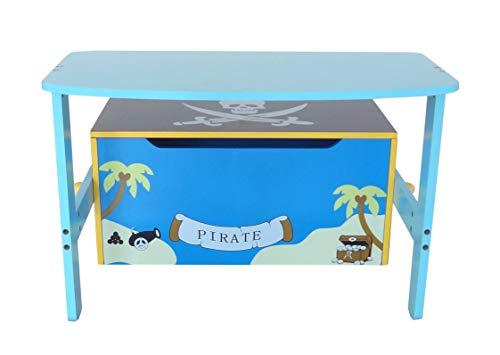 Bebe Style PRF1CTB-Blue Verwandelbare Spielzeugkiste + Tischbank + Stuhl - Holzkiste Aufbewahrung, blau - 4