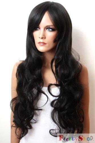 PRETTYSHOP Unisexe Perruque Pleine Cheveux Longs Fibres Synthétiques Résistant à La Chaleur Ondulé Volumineux noir # 1B FS836d
