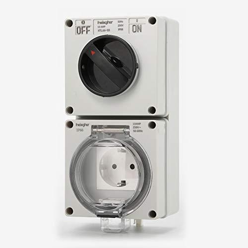 Waterdichte socket Premium IP66 wandmontage stopcontact met schakelaar voor buitenverlichting en elektrische apparatuur (DE outlet),White