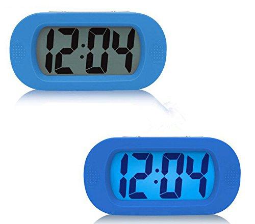 Moon mood Despertador Reloj con Alarma, Reloj Despertador Perezoso, Simple Grande LCD Pantalla Reloj Despertador Digital con Función Snooze/Luz Nocturna Bateria Cargada Silicona Digital Despertador