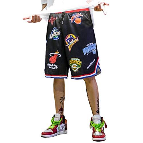 Pantalones Cortos de Baloncesto Hombres, Camiseta Deportiva Transpirable en Malla Verano Moda Callejera para Adolescentes, Shorts Secado Rápido para Correr Trotar,Negro-2XL
