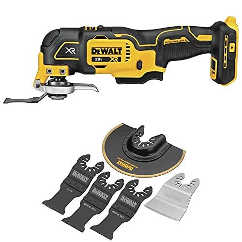 DEWALT 20V MAX XR Oscillating Multi-Tool, Variable Speed, Tool Only (DCS356B) & Oscillating Tool Blades Kit, 5-Piece (DWA4216)