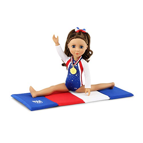 Emily Rose 14 Inch Doll Clothes | Team USA 4 Piece Doll Gymnastics Set, Including Realistic Olympic Gold Medal! | Fits 14' Wellie Wishers and Glitter Girls Dolls