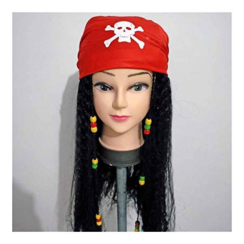Pirates of The Caribbean Captain Jack Cosplay Pruiken Sjaal Pruik Pirate Captain Hook themafeest Wig (Color : Red)