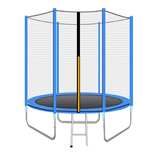 8FT Outdoor Garden Waterdicht Trampoline Jumper met Ladder, blauw/roze/Groen Optioneel, Max Weight 200kg / 441Ibs, Vangnet en de dikte Pad, Best Gift,Blue
