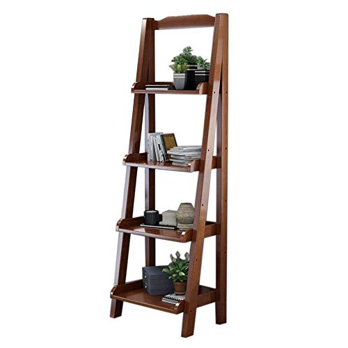 MOM Home Storage ShelvesOffice Furniture Stands Leaning Ladder Shelf Bookcase Bookshelf Display Unit for Living Room Storage 4-Shelf Bedroom Space Saving HoldersWalnut Color173211815511In