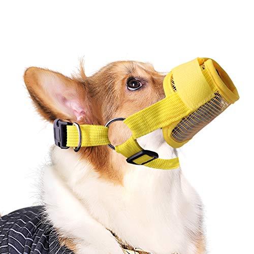 QiCheng&LYS - Boquilla de Seguridad para Perros y Mascotas, cómoda, Transpirable, de Nailon, antimordeduras, con 5 Colores Disponibles (XL, Amarillo)