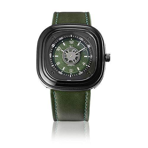 Armbanduhr,Quadratisches Zifferblatt Tick Plattenspieler Mode Sport Casual Quarzuhr, Grün