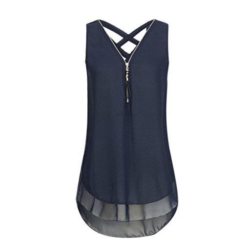 Kimodo 2018 T Shirt Blusen Tank Top Damen Camisole Sommer Lose Weste Freizeithemd Bluse Schwarz Blau Rosa Große Größe (XL, A-Blau)