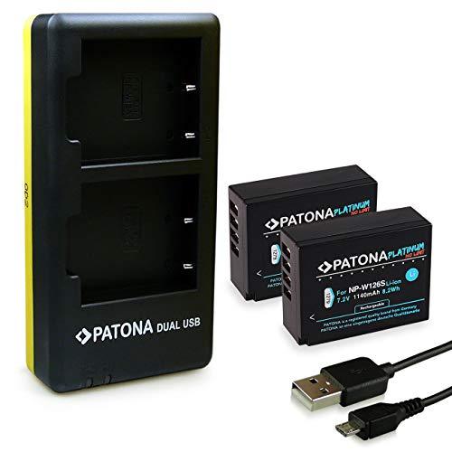 PATONA Cargador Doble + 2X Platinum Bateria NP-W126S Compatible con Fujifilm FinePix X-Pro 1 VPB-XT3 X-T100 HS-30EXR HS-33EXR