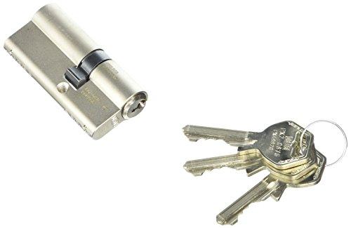 GEGE hochwertiger, profesioneller, verschiedensperrender Einbaudoppel-Profil-Zylinder pExtra, 27,5/40 mm, Messing vernickelt matt mit je 3 Schlüssel, 1 Stück, PX/DZ/5/27,5/40,0/NI/BSZ/SE/330°