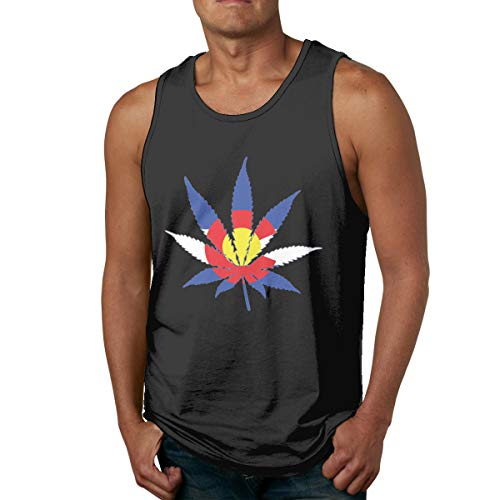 Abigails Home Drapeau du Colorado Marijuana Hommes Débardeurs Chemises sans Manches Tee Sports Basketball T Shirt Tees Fitness en Plein air(XXL,Noir)